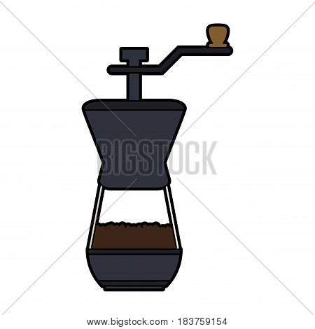colorful silhouette coffee grinding jar with crank vector illustration