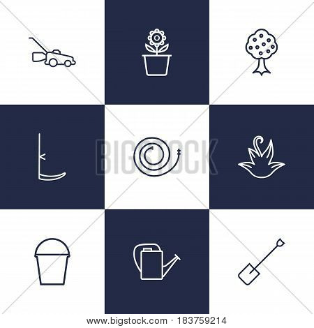 Set Of 9 Household Outline Icons Set.Collection Of Garden, Plant Pot, Firehose And Other Elements.