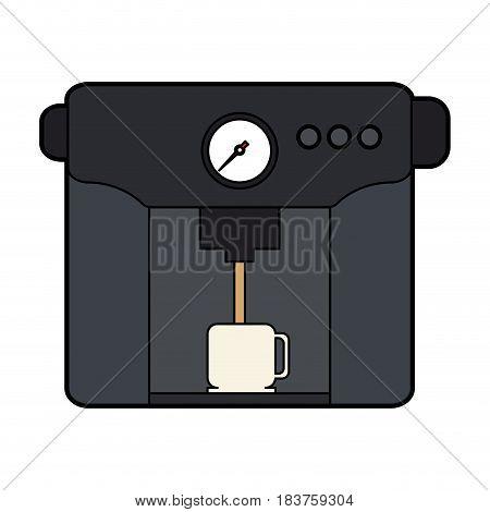 colorful silhouette coffee espresso machine with mug vector illustration
