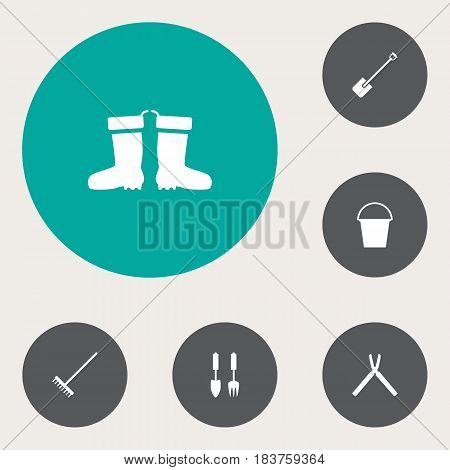 Set Of 6 Farm Icons Set.Collection Of Rake, Tools, Rubber Boots And Other Elements.
