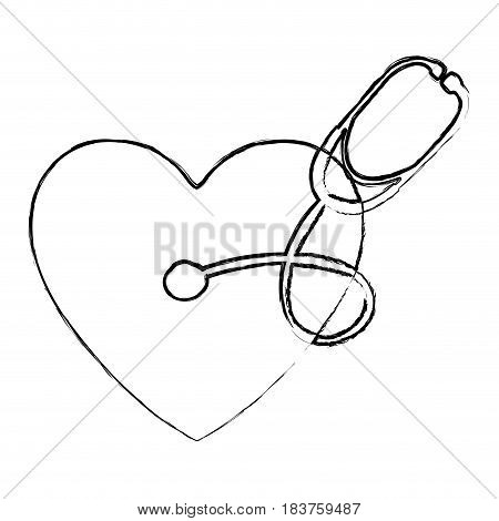blurred silhouette of heart with stethoscope medical with auriculars vector illustration