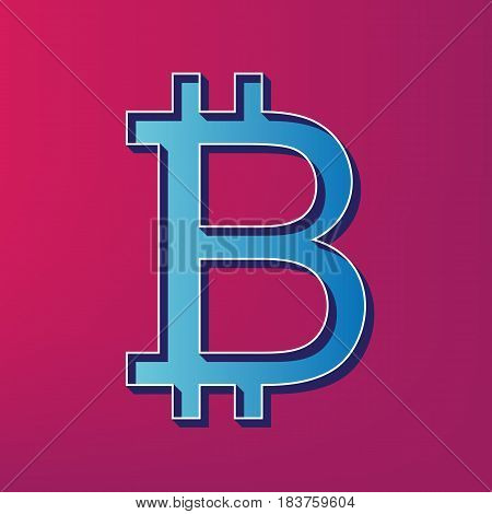 Bitcoin sign. Vector. Blue 3d printed icon on magenta background.