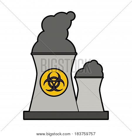 colorful silhouette industrial factory icon biohazard vector illustration