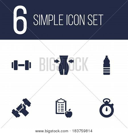 Set Of 6 Training Icons Set.Collection Of Barbell, Slimming, Timer And Other Elements.