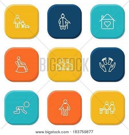 Set Of 9 People Outline Icons Set.Collection Of Care, Home, Lovers And Other Elements.