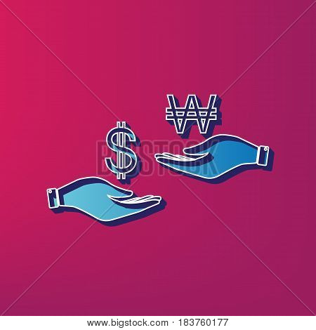 Currency exchange from hand to hand. Dollar and South Korea Won. Vector. Blue 3d printed icon on magenta background.