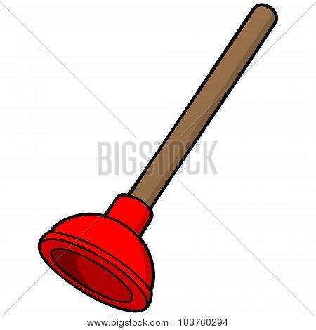A vector illustration of a cartoon Plunger.
