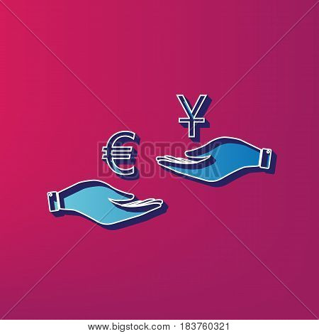 Currency exchange from hand to hand. Euro and Yuan. Vector. Blue 3d printed icon on magenta background.