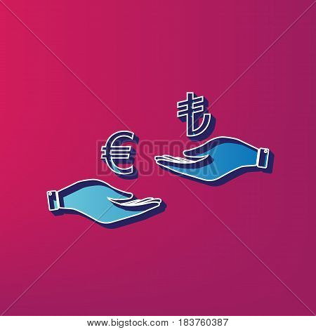 Currency exchange from hand to hand. Euro and Lira. Vector. Blue 3d printed icon on magenta background.