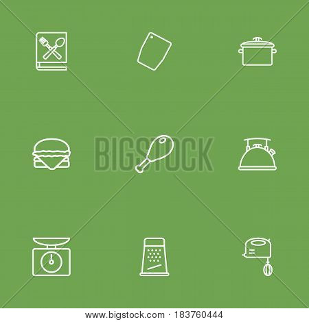 Set Of 9 Cooking Outline Icons Set.Collection Of Pan, Scales, Chopping Board And Other Elements.