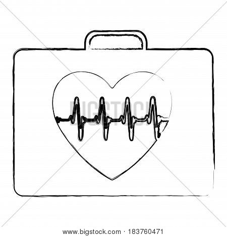 blurred silhouette firts aid kit with symbol line of vital sign in heart vector illustration