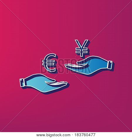 Currency exchange from hand to hand. Euro and Yen. Vector. Blue 3d printed icon on magenta background.