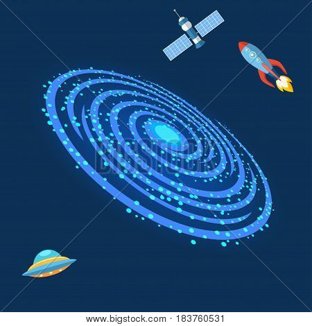 Milky Way galaxy astrology nebulae outdoor planet vast milkyway spiral astronomy space sky universe background vector illustration. Cosmos star constellation dark nature.