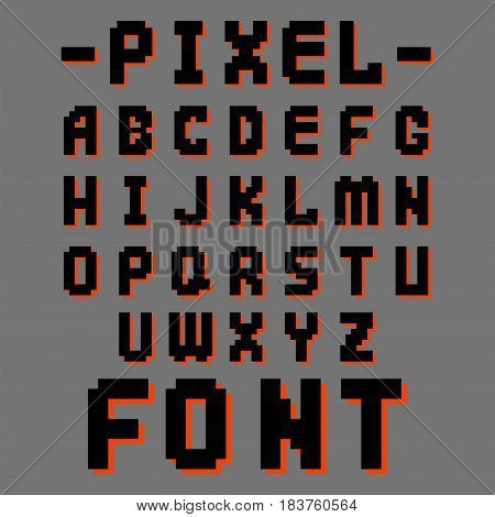 Pixel retro font video computer game design 8 bit letters. Electronic futuristic style and vector abc typeface digital creative alphabet. Website modern vintage creative graphic.