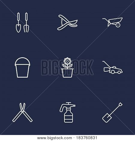 Set Of 9 Horticulture Outline Icons Set.Collection Of Shears, Instruments, Atomizer And Other Elements.