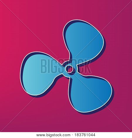 Fan sign. Vector. Blue 3d printed icon on magenta background.