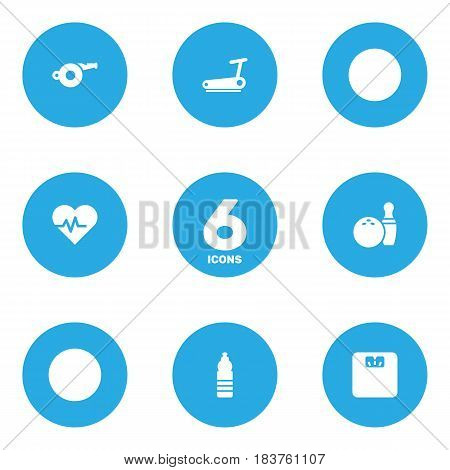 Set Of 6 Bodybuilding Icons Set.Collection Of Treadmill, Kegling, Body Balance And Other Elements.