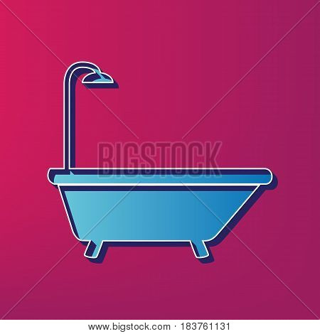 Bathtub sign. Vector. Blue 3d printed icon on magenta background.