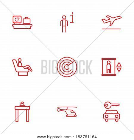 Set Of 9 Airplane Outline Icons Set.Collection Of Airport Security, Flight, Helicopter And Other Elements.