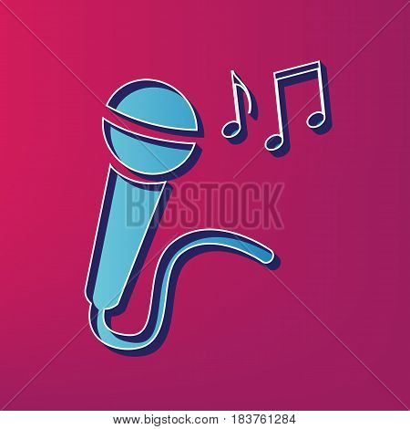 Microphone sign with music notes. Vector. Blue 3d printed icon on magenta background.