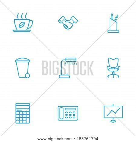 Set Of 9 Work Outline Icons Set.Collection Of Show, Workplace, Partnership And Other Elements.
