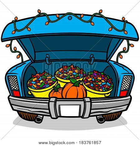 A vector illustration of a Trunk or Treat car trunk.