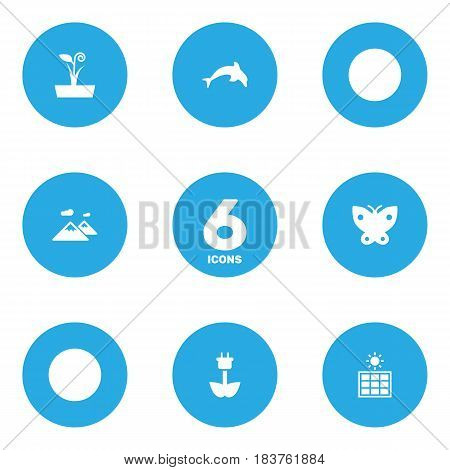 Set Of 6 Eco Icons Set.Collection Of Pinnacle, Flowerpot, Moth And Other Elements.