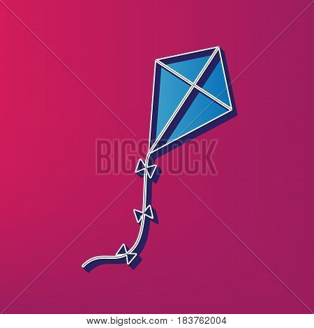 Kite sign. Vector. Blue 3d printed icon on magenta background.