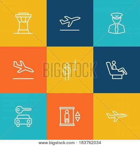 Set Of 9 Land Outline Icons Set.Collection Of Data, Flight, Sit And Other Elements.