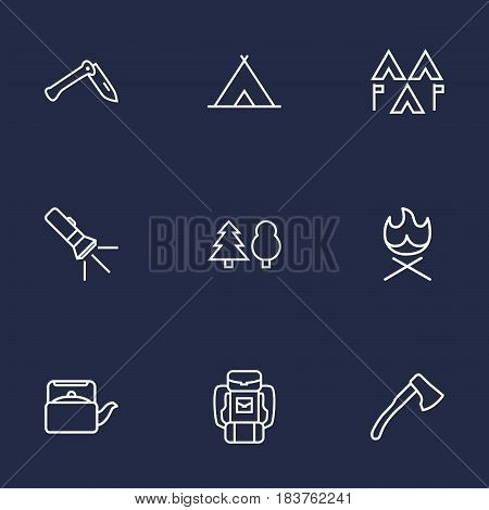 Set Of 9 Outdoor Outline Icons Set.Collection Of Encampment, Shelter, Baggage And Other Elements.