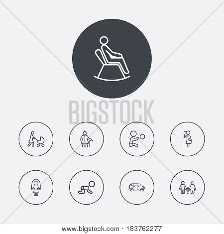 Set Of 9 People Outline Icons Set.Collection Of Pregnant Woman, Crawling Kid, Skipping Rope And Other Elements.