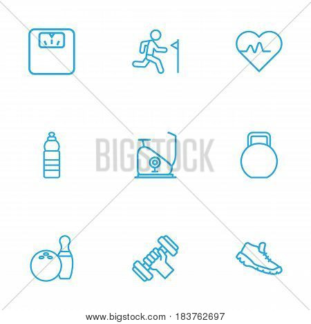 Set Of 9 Fitness Outline Icons Set.Collection Of Scales, Kettlebells, Exercise Bike And Other Elements.