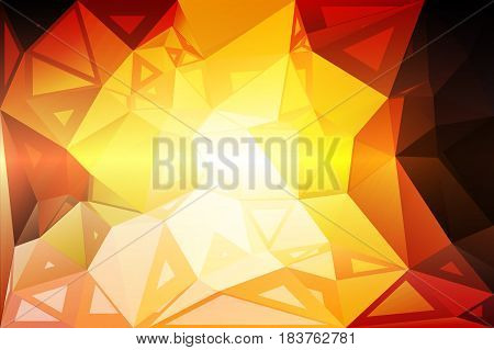 Yellow coral pink black abstract random sizes low poly geometric background
