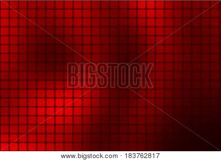Deep burgundy red abstract rounded corners square tiles mosaic background over white blurred background