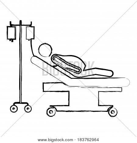 blurred silhouette pictogram pregnant woman in stretcher clinical vector illustration