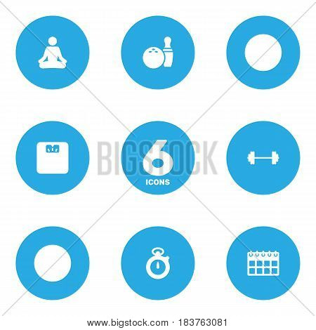 Set Of 6 Bodybuilding Icons Set.Collection Of Meditate, Kegling, Body Balance And Other Elements.