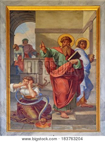 ROME, ITALY - SEPTEMBER 05: The fresco with the image of the life of St. Paul: The Exorcism of the Slave Girl, basilica of Saint Paul Outside the Walls, Rome, Italy on September 05, 2016.