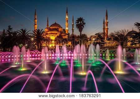 Blue mosque with six  minarets backlighted shot at blue hour, Istanbul, Turkey.