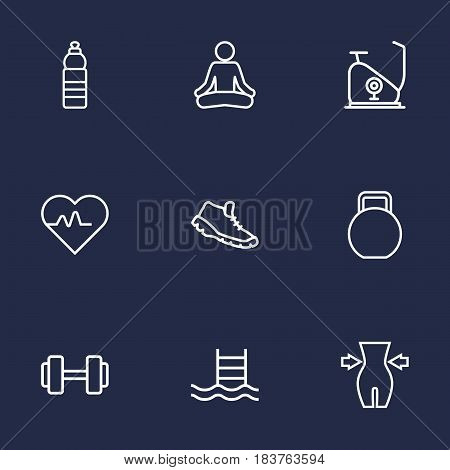 Set Of 9 Training Outline Icons Set.Collection Of Exercise Bike, Kettlebells, Yoga And Other Elements.
