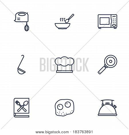 Set Of 9 Culinary Outline Icons Set.Collection Of Kettle, Mixer, Soup And Other Elements.