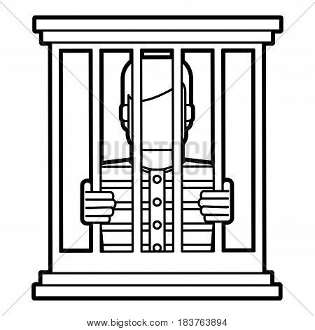 male prisoner behind bars icon image vector illustration design