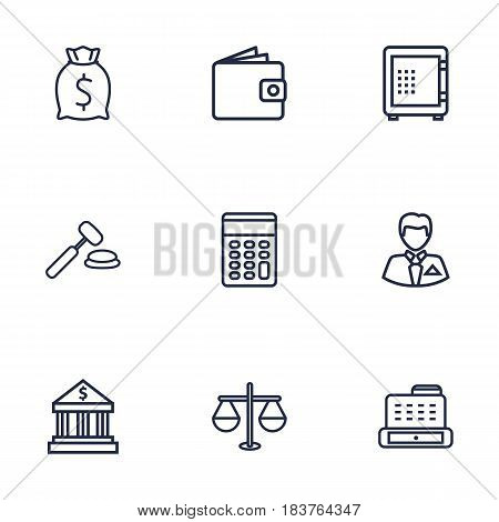 Set Of 9 Sponsor Outline Icons Set.Collection Of Safe, Moneybag, Wallet And Other Elements.