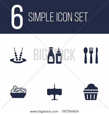 Set Of 6 Cafe Icons Set.Collection Of Catsup, Sweet, Canape And Other Elements.
