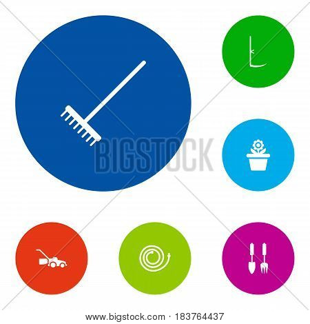 Set Of 6 Household Icons Set.Collection Of Flowerpot, Cutter, Rake And Other Elements.