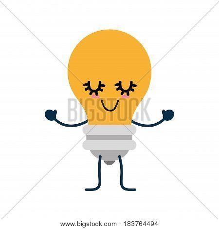 Bulb cute cartoon icon vector illustration graphic design