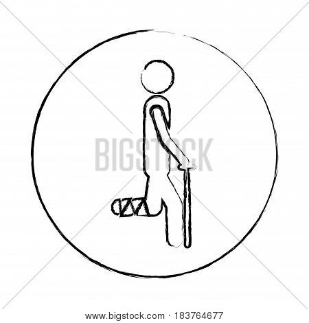 blurred circular frame silhouette pictogram bandaged leg patient icon flat vector illustration