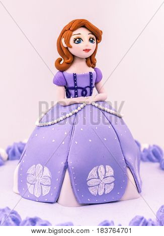 Fondant girl doll princess cake, purple color