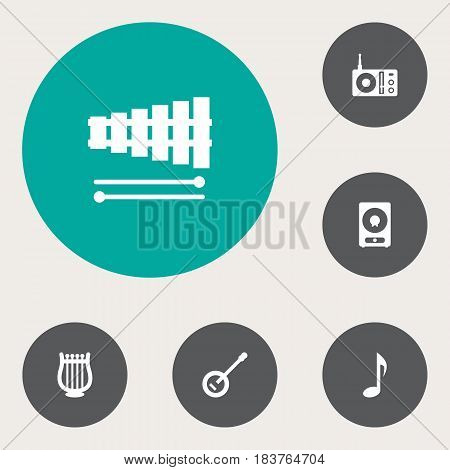 Set Of 6 Song Icons Set.Collection Of Radio, Banjo, Percussion And Other Elements.