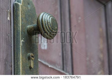 detail shot of Brass Vintage Door Knob.