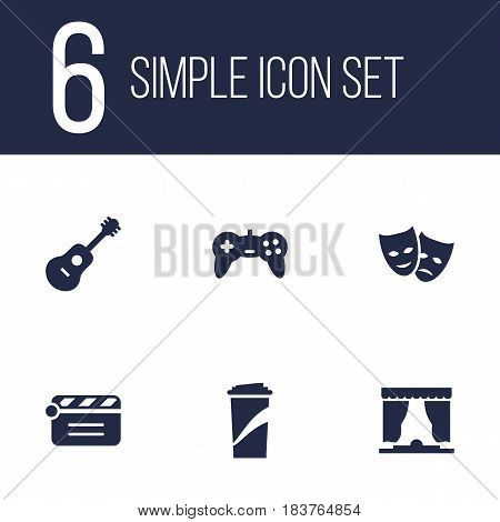 Set Of 6 Amusement Icons Set.Collection Of Joystick, Beverage, Action And Other Elements.